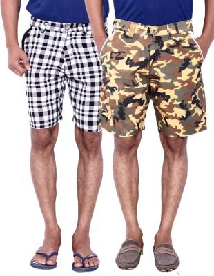 Calloway Printed Men's Beige, White, Light Blue Basic Shorts