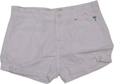 Palm Tree Solid Girl's White Basic Shorts
