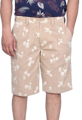 Kaaj Designs Graphic Print Men's Beige Basic Shorts