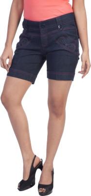 TrendBAE Solid Womens Denim Dark Blue Denim Shorts