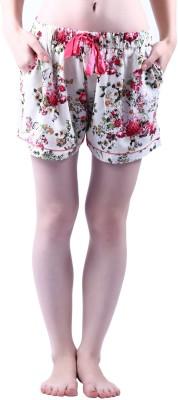 Vixenwrap Floral Print Women's White Night Shorts