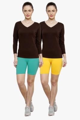 Softrose Solid Women's Light Green, Yellow Cycling Shorts