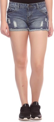 Fasnoya Self Design Women,s Denim Grey Denim Shorts