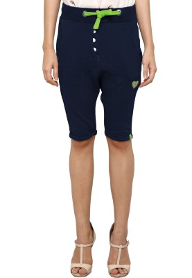 Pepperika Solid Women's Blue Baggy Shorts