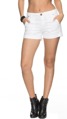 Tarama Solid Women's White Denim Shorts
