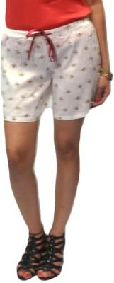 S9 Women Printed Women's Multicolor, White Basic Shorts
