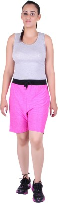 Gag Wear Solid Women's Pink Sports Shorts at flipkart