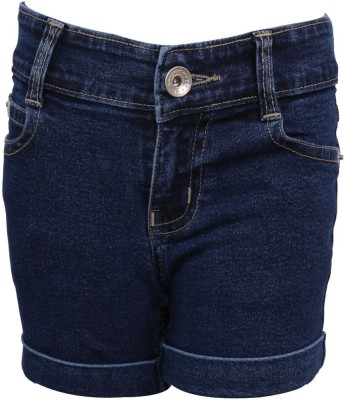Miloni Solid Girl's Denim Dark Blue Denim Shorts