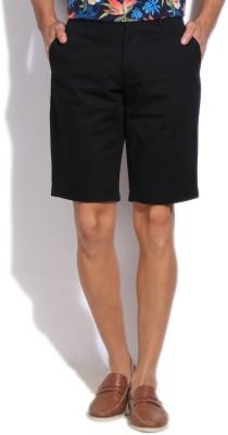 Flying Machine Solid Men's Black Basic Shorts