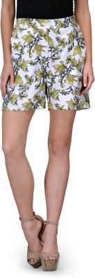 Curvy Q Floral Print Women's White, Yellow Basic Shorts
