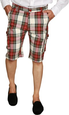 You Checkered Men's Red, Black Night Shorts
