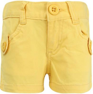 Dreamszone Solid Girl's Yellow Denim Shorts