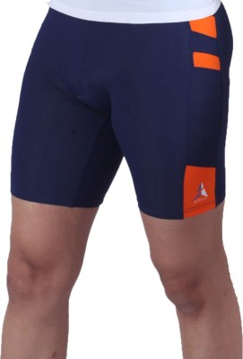 Attiva Solid Men's Orange, Blue Cycling Shorts