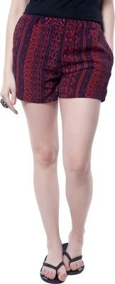 Hitch-Ki Printed Women's Red, Black Basic Shorts at flipkart