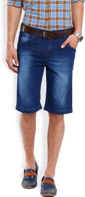 Vintage Solid Men's Blue Denim Shorts