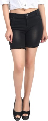 Ico Blue Star Solid Women's Black, Gold Denim Shorts