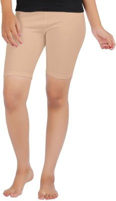 Sungrace Solid Girl's Beige Cycling Shorts