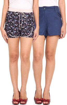 Ama Bella Floral Print Women's Multicolor, Blue Basic Shorts