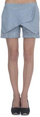 Zaivaa Checkered Women's Blue Basic Shorts