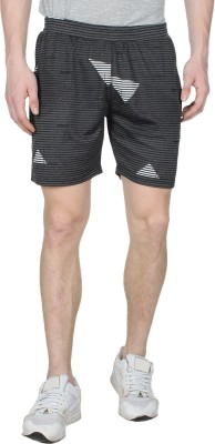 Creez Printed Men's Black Sports Shorts