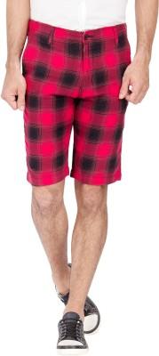 urbantouch Checkered Men's Red, Black Basic Shorts