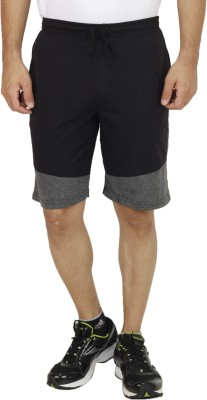 Christy World Solid Men,s Black Sports Shorts