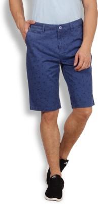 I-Voc Printed Men's Dark Blue Chino Shorts