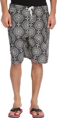 M Tex Printed Men's Black Basic Shorts