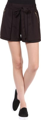 Oxolloxo Solid Women's Brown Basic Shorts