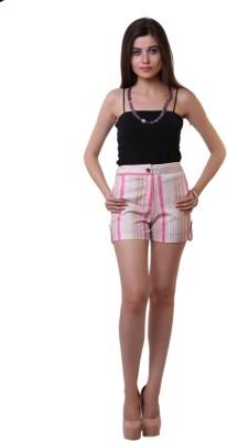 Belle Fille Striped Women,s Pink Basic Shorts