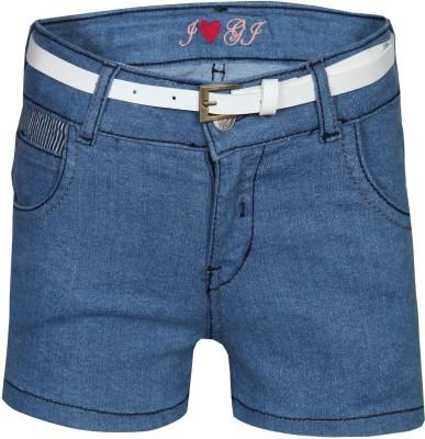 Gini & Jony Solid Girl's Blue Basic Shorts
