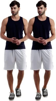 Dee Mannequin Self Design Men's White, White Sports Shorts