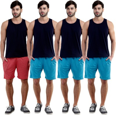 Dee Mannequin Self Design Men's Red, Blue, Blue, Blue Sports Shorts