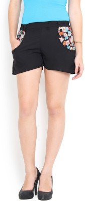 Trend Arrest Solid Women's Black Beach Shorts