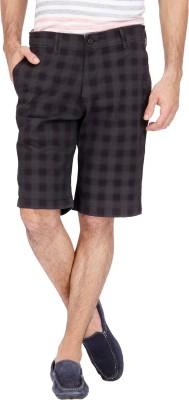 urbantouch Checkered Men's Black, Beige Basic Shorts