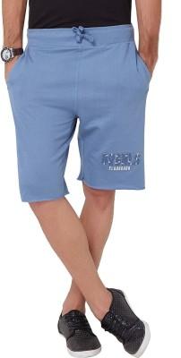 Elaborado Embroidered Men,s Blue, Grey Basic Shorts