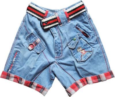 Mankoose Printed Girl's Denim Blue Denim Shorts