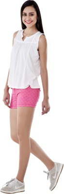 Colors Couture Polka Print Women's Pink Basic Shorts