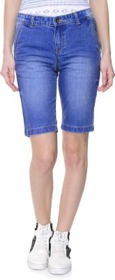 Addyvero Solid Women's Denim Light Blue Denim Shorts at flipkart