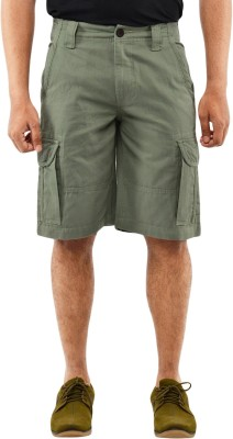 Blue Wave Solid Men's Green Cargo Shorts