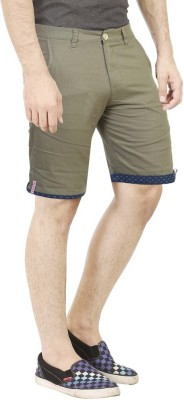 Primo Solid Men's Green Basic Shorts, Beach Shorts, Bermuda Shorts