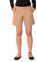 Oviya Women's Clothing - Oviya Solid Women's Beige Basic Shorts