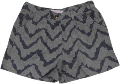 My Little Lambs Chevron Girl's Linen Grey Basic Shorts