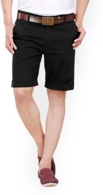 Haute Couture Solid Men,s Black Chino Shorts