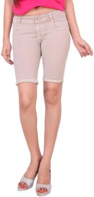 Airways Solid Women's Brown Denim Shorts