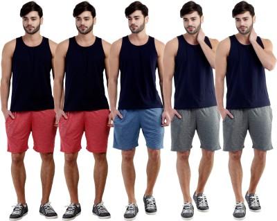 Dee Mannequin Self Design Men's Red, Red, Dark Blue, Grey, Grey Sports Shorts