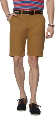 People Solid Men's Beige Denim Shorts