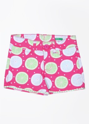 United Colors of Benetton Printed Baby Girl's Green, Pink, Multicolor Basic Shorts