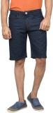 Clickroo Printed Men's Blue Denim Shorts