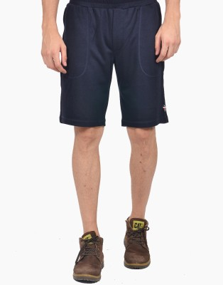 YOO Solid Men's Blue Bermuda Shorts